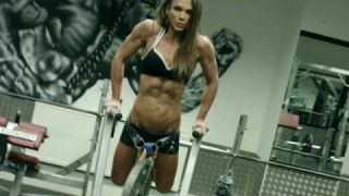 Ripped Girl Worksout Hard