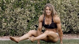 Female Bodybuilder Kathy Garza Gymnastics Moves