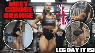 MEET CONNIE ORANGE FROM THE UK | ON THE QUEST TO IFBB FIGURE | CRAZY LEG DAY!
